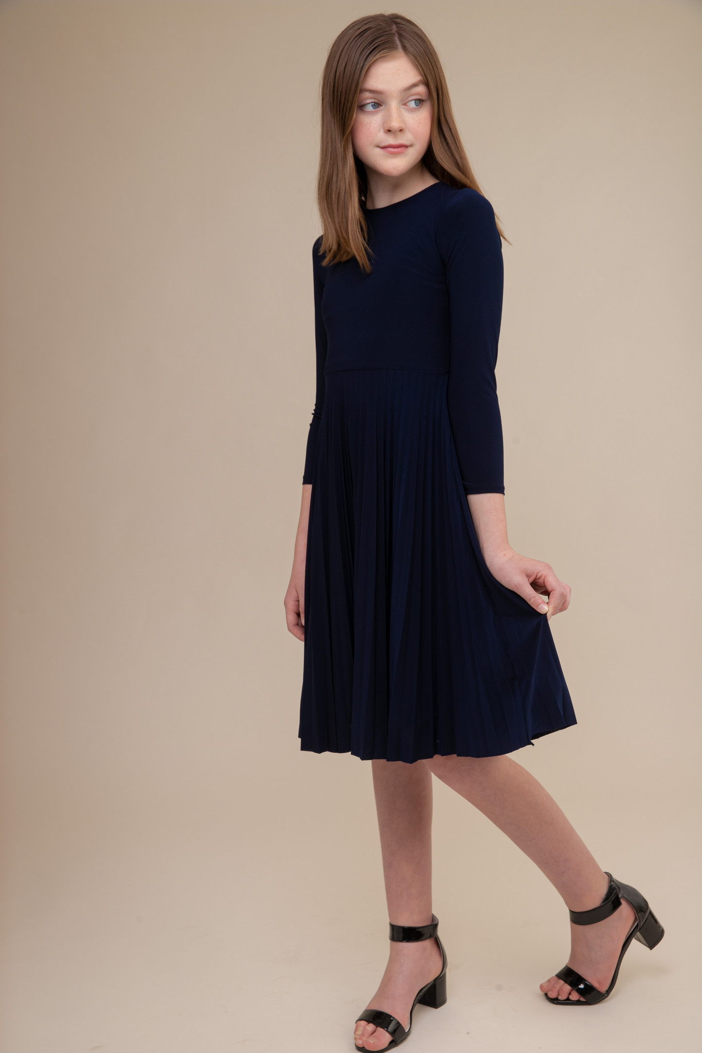 Navy Blue High Neck Pleated Dress with Sleeve in Longer Length.