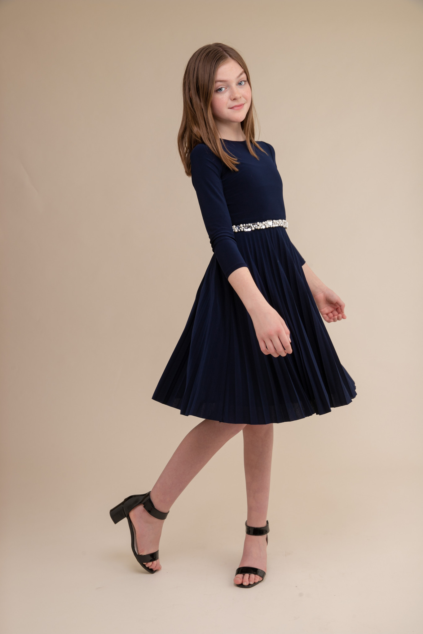 Navy Blue High Neck Pleated Dress with Sleeve in Longer Length with belt.