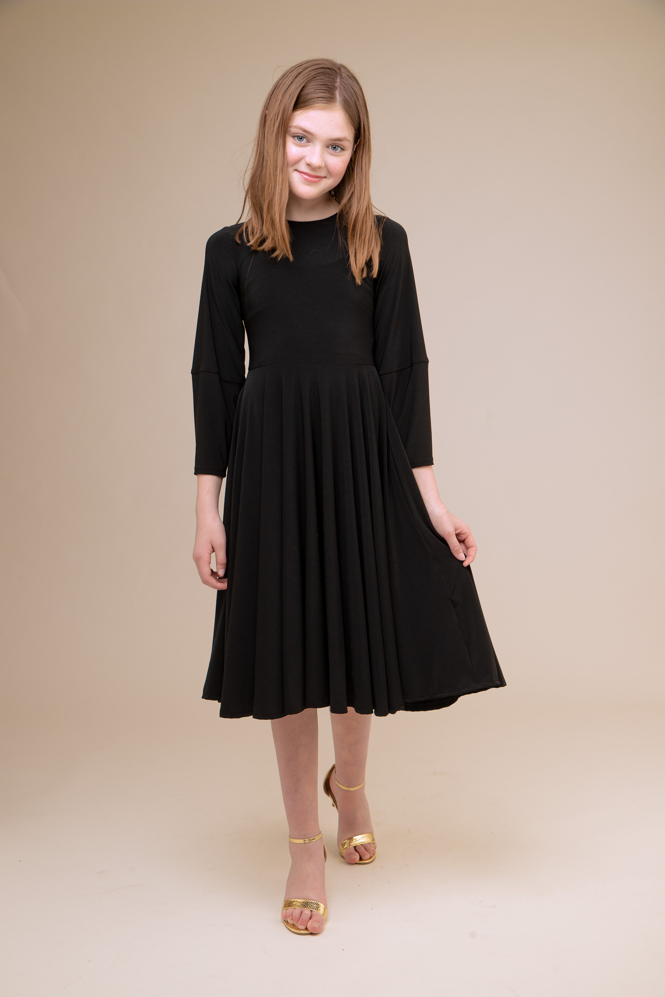 Black Pleated Dress with Detailed Sleeve in Longer Length.