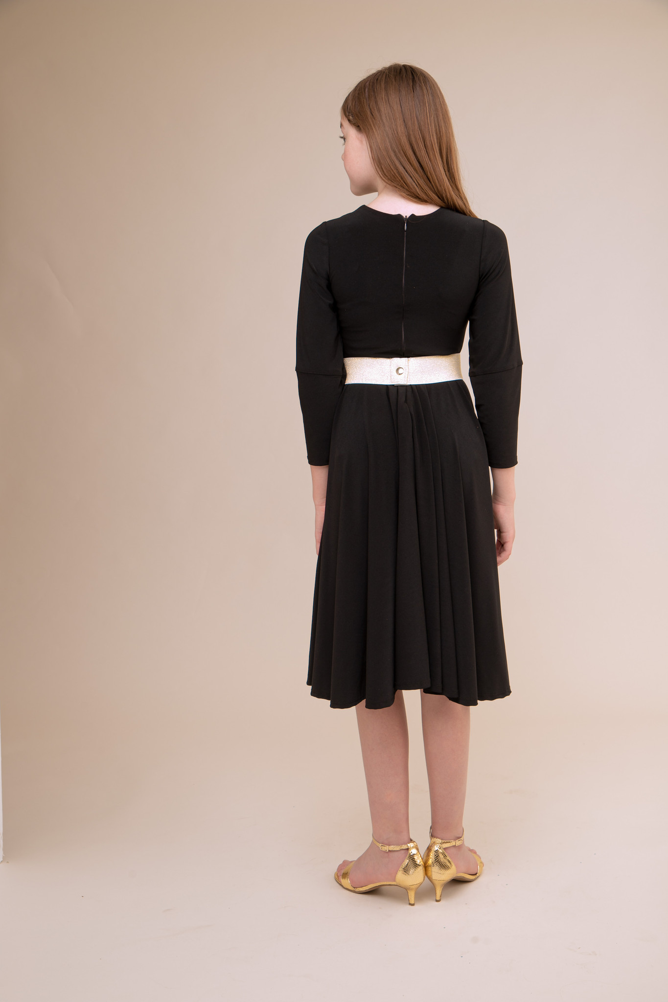 Black Pleated Dress with Detailed Sleeve in Longer Length