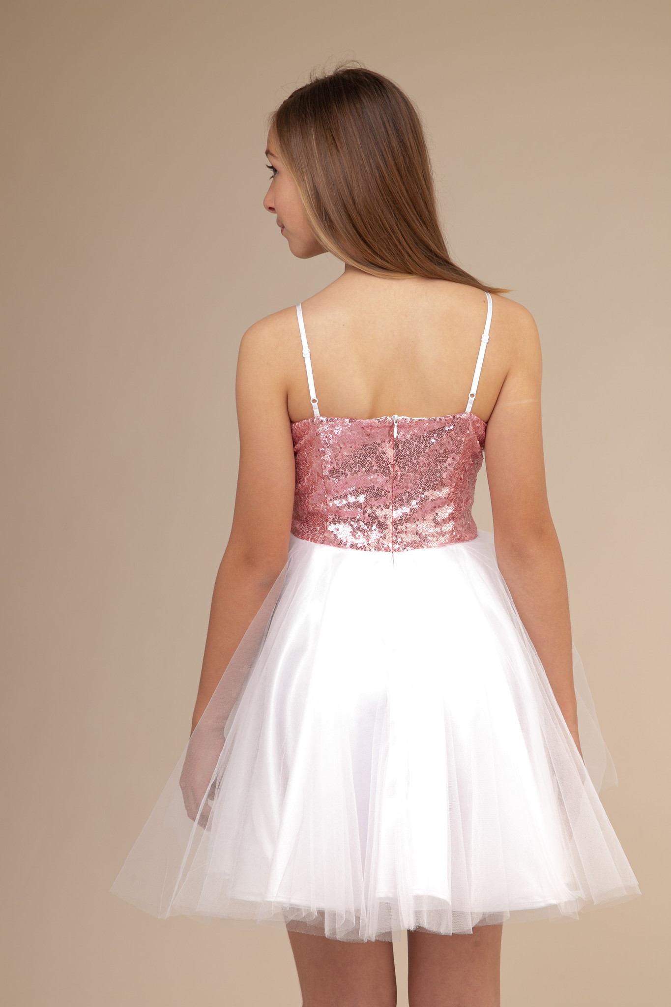 Blush Pink Sequin Party Dress in Longer Length.