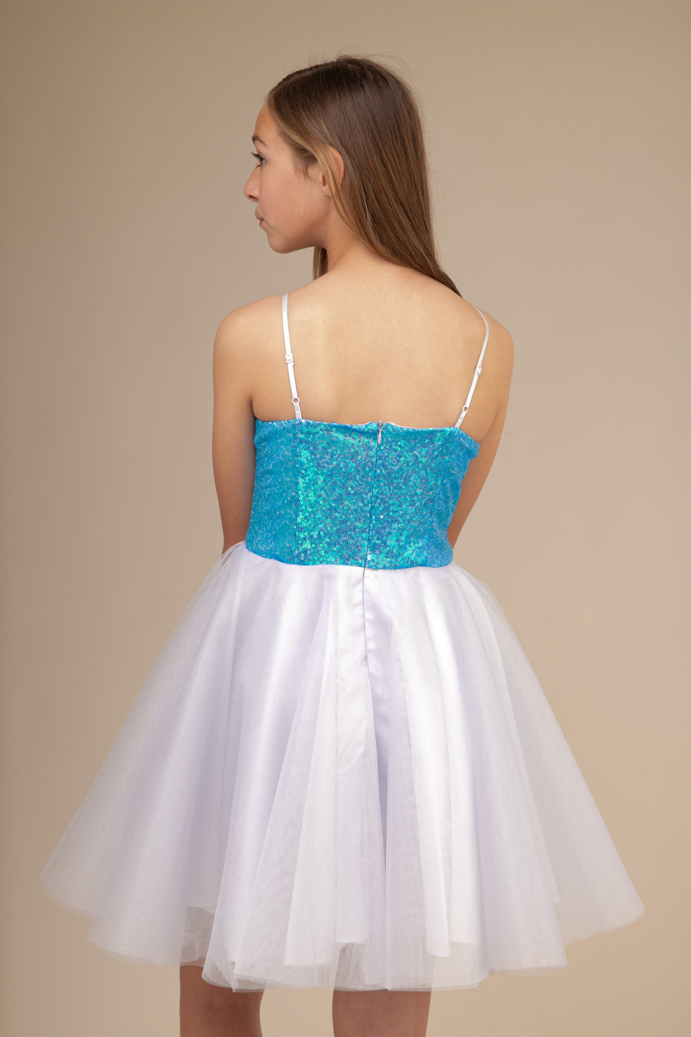 Turquoise Sequin Party Dress in Longer Length.