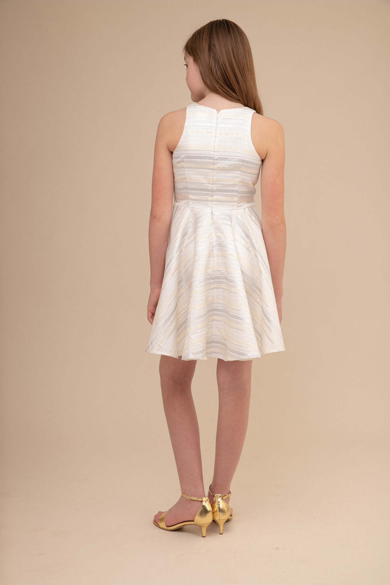 Silver and Ivory Stripe Racer Back Dress.