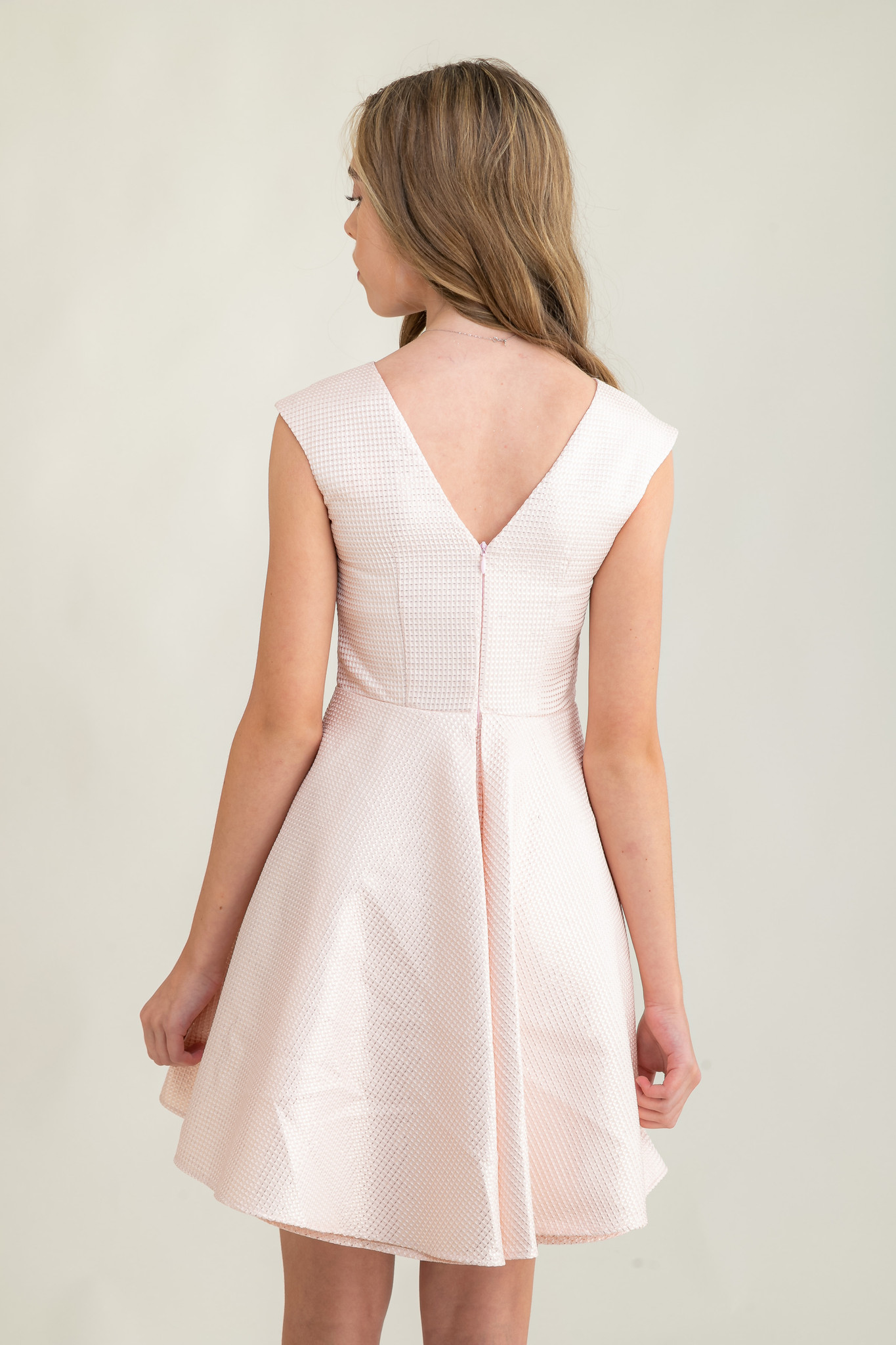 Blush Pink Quilted Dress in Longer Length.