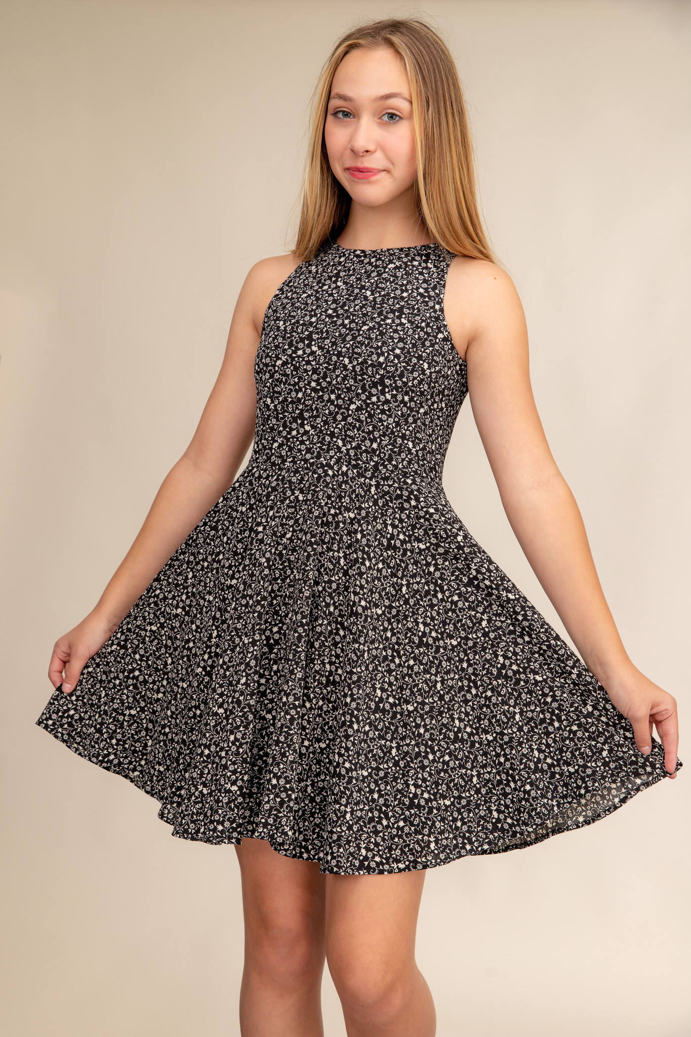 Black and White Floral Chiffon Racer Back Dress.