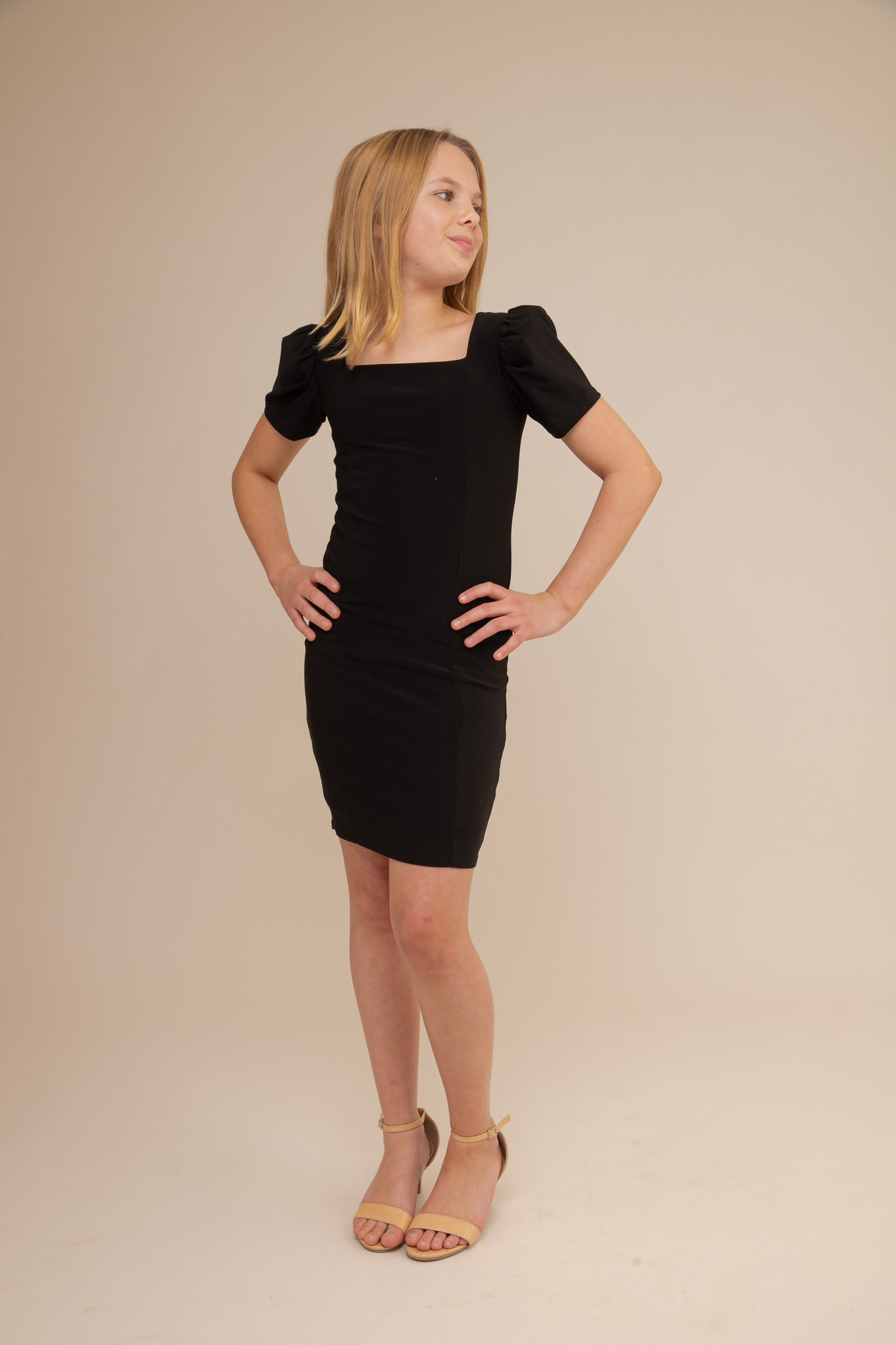 Fitted Puff Sleeve Dress in Longer Length.