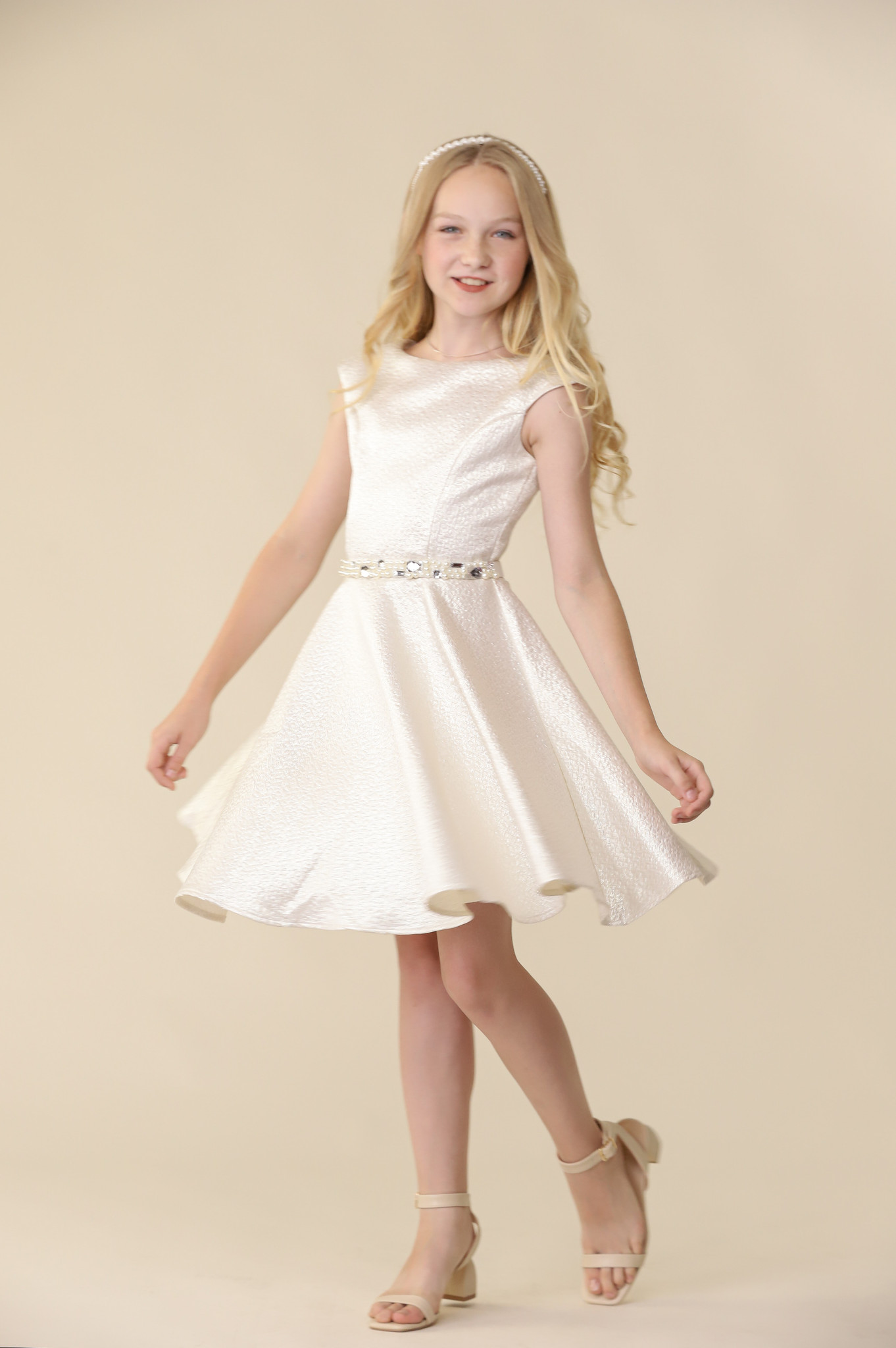 Silver and Ivory Iridescent Cap Sleeve Dress with Belt.