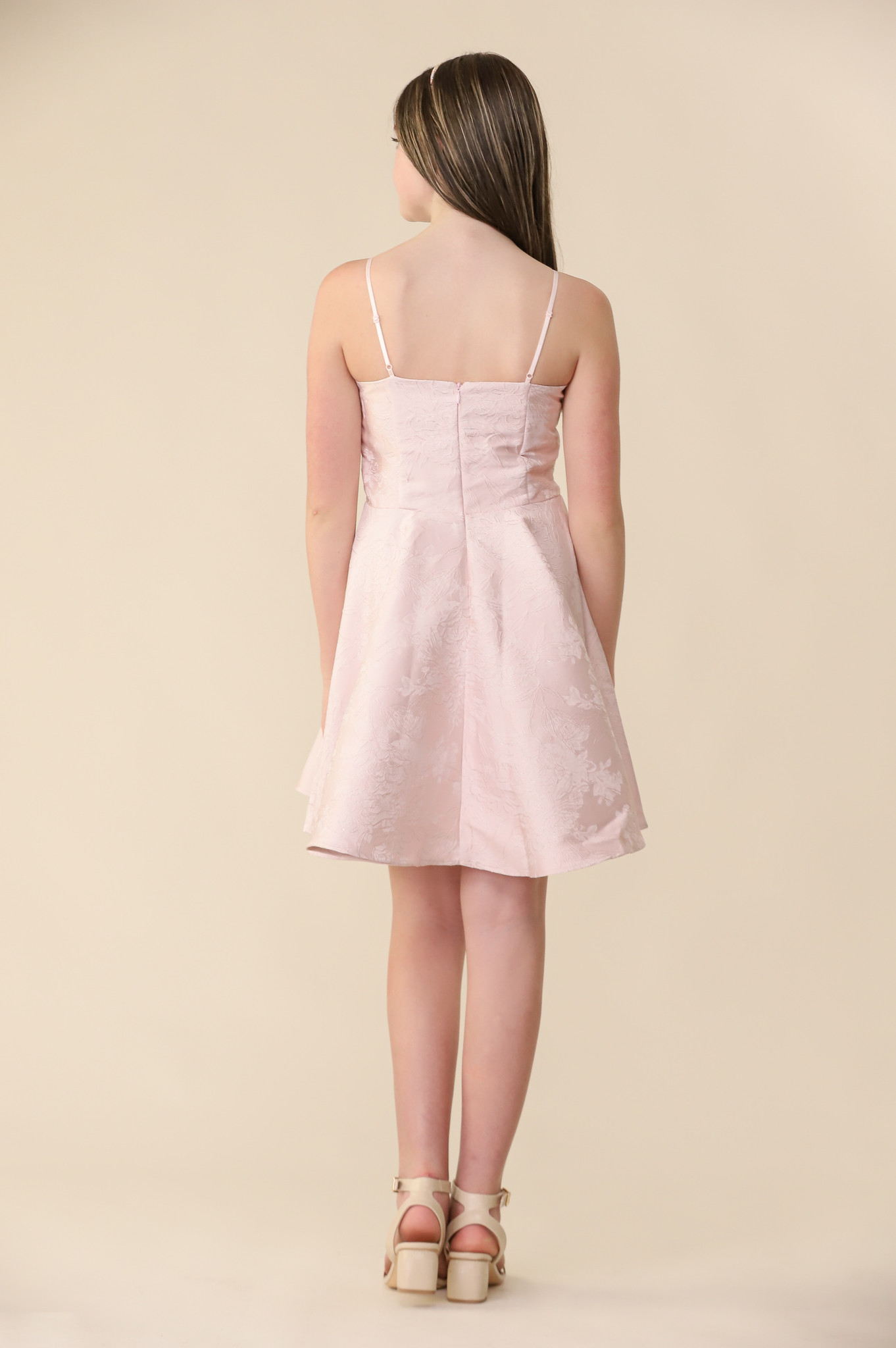 Blush Floral Party Dress in Longer Length with Belt.