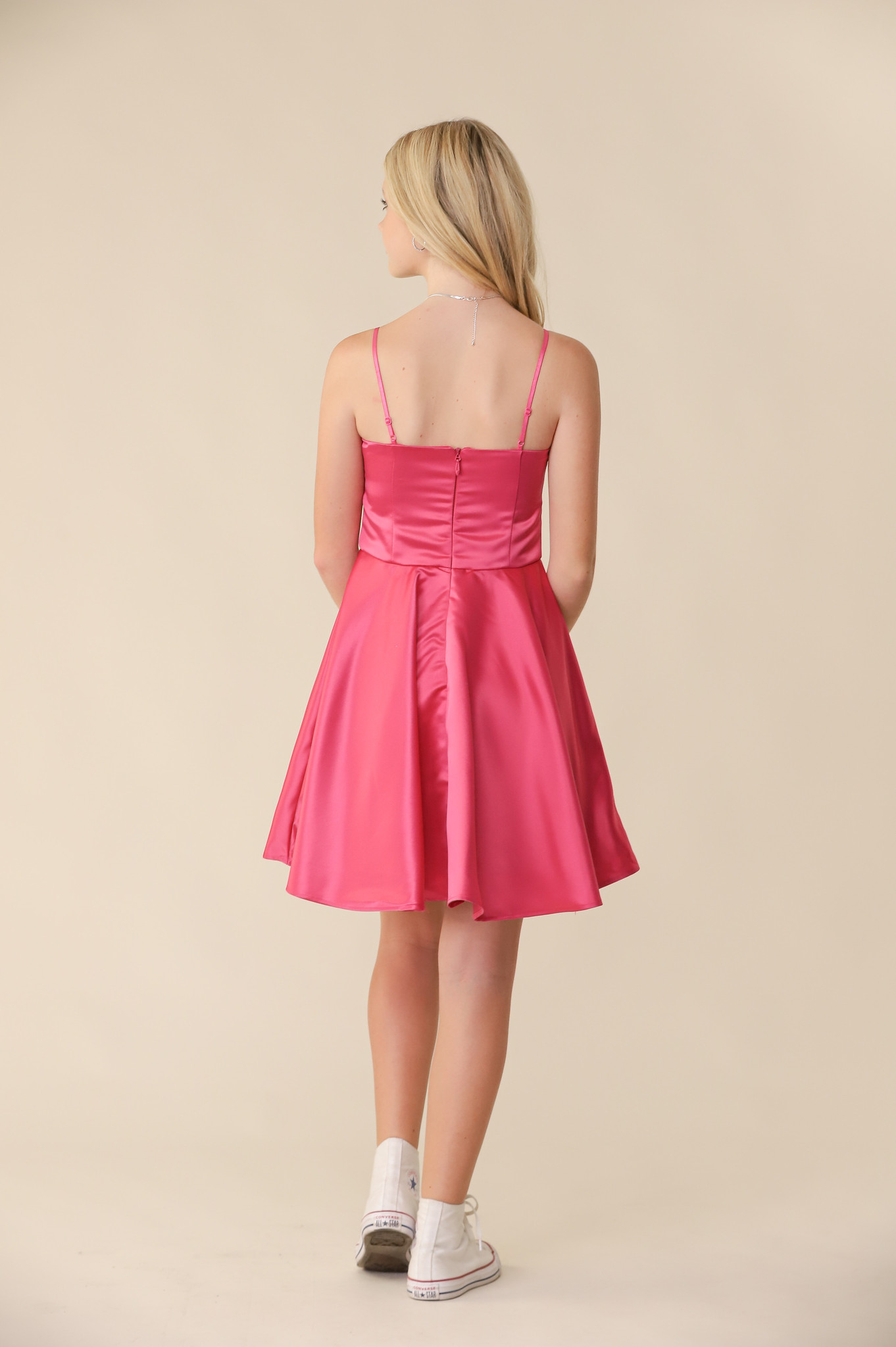 Fuchsia Satin Fit and Flare Dress in Length