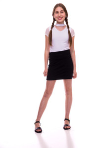 Black Pencil Skirt with Stripe Texture
