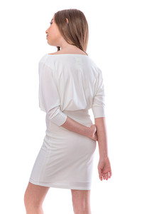Dolman Sleeve Fitted Dress in Ivory