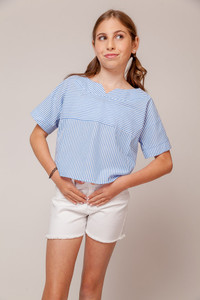 Stripe Top with Button Up Shoulder