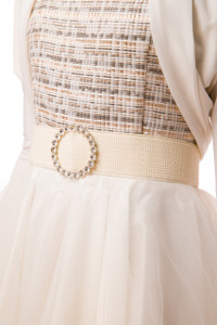 Elastic Banded Belt with Buckle in Ivory