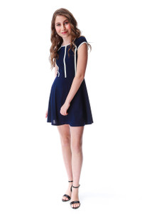 Short Sleeve Navy Dress with White Piping