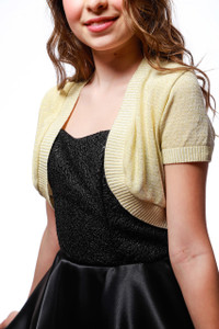 Short Sleeve Glitter Bolero Jacket in Gold