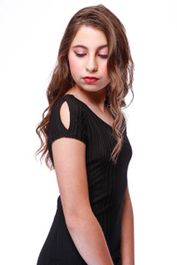 Fitted Cold Shoulder Dress in Black Shadow