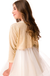 3/4 Sleeve Bolero in Gold Glitter