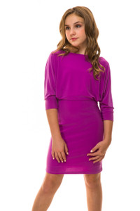 Dolman Sleeve Fitted Dress in Orchid