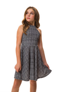 Plaid Halter Dress in Longer Length