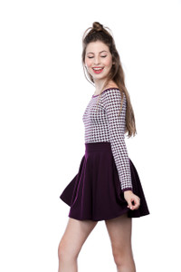 Long Sleeve Houndstooth Top in Plum