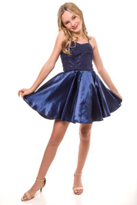 Sequin and Satin Party Dress in Navy