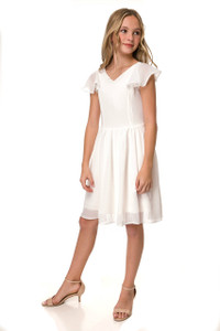 Ivory Chiffon Flutter Sleeve Dress in Longer Length
