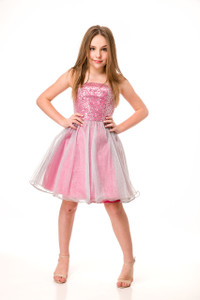 Tween Girls Juniors 7-16 0 Pink Party Dress with Silver Sequins and Glitter
