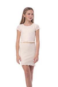 Tween Girls 7-16 Short Sleeve Ruffle Top in Ivory