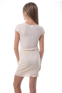 Tween Girls 7-16 Ruffle Hem Pencil Skirt in Ivory