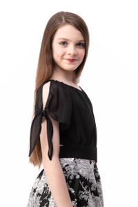 Tween Girls 7-16 Chiffon Cold Shoulder Knotted Top in Black