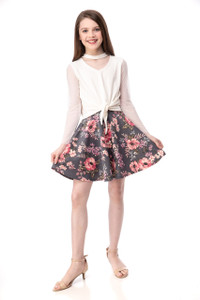 Tween Girls Pink and Grey Floral Skirt in Longer Length