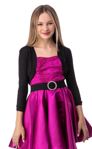 Tween Girls 3/4 Sleeve Bolero in Black Glitter