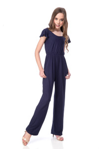 Tween Girls Short Sleeve Jumpsuit in Navy