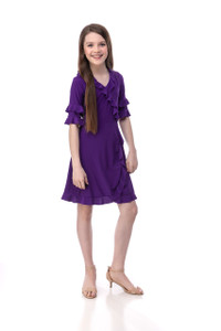 Purple Wrap Dress in Longer Length