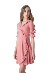 Tween Girls Mauve Pink Wrap Dress in Longer Length