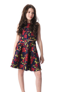 Tween Girls Red and Yellow Floral Button Back Crop Top