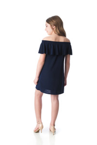 Tween Girls Navy Off-the-Shoulder Dress in Longer Length