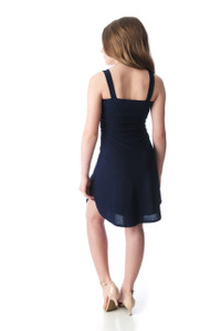 Tween Girls Navy Knotted Front Tank Dress