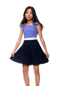 Tween Girls Pleated Periwinkle Color-Block Dress with Cap Sleeve