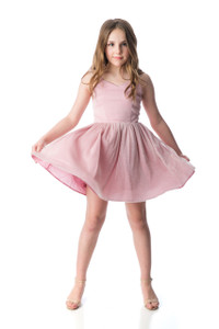 Tween Girls Blush Pink Glitter Party Dress in Longer Length