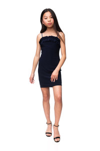Tween Girls Navy Frill Fitted Dress in Longer Length