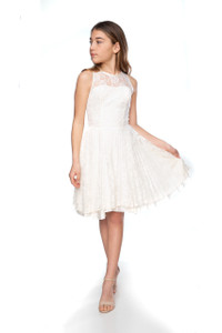 Junior Girls Illusion Ivory Lace Dress in Longer Length