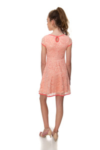 Tween Girls Short Sleeve Peach Piped Dress