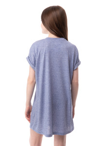 Tween Girls Oversized T-Shirt in Chambray