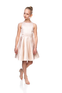 Tween Girls Gold Jacquard Party Dress in Longer Length