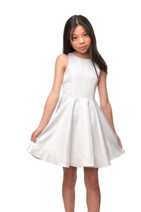 Tween Girls Silver Jacquard Party Dress in Longer Length