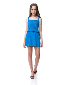 Tween Girls Turquoise Smocked Romper with Knotted Straps