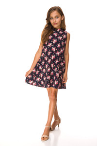 This is the Sale Tween Girls Floral A Line Dress full body picture. Stretch floral fabric.