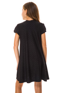Back view of the Tween Girls Cold Shoulder A Line Dress in Black Eyelet.