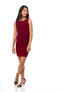 This is the all over stretch Tween Girls Burgundy Ruched Fitted Dress in Longer Length.